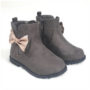 Toddler Girl Gray Ankle Boots Glitter Bow Size 5